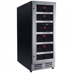 Vitrina de vinuri Nevada Concept NW17D-SSL, 17 sticle, doua zone, negru/inox