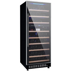 Vitrina de vinuri Vinum Design Clasic VD100D-FGS, 90/100 sticle, 2 zone temperatura, Negru