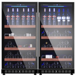 Vitrina de vinuri Vinum Design Clasic VD100D-FG, 90/100 sticle, 2 zone temperatura, Negru