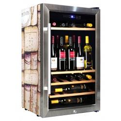Vitrina de vinuri Vinum Design Creative VD60SCSW-Coork, 60 sticle, 1 zona temperatura, Inox / PAL