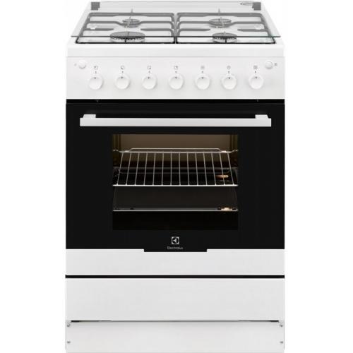 Aragaz Electrolux EKG61182OW, 4 arzatoare, Aprindere electrica plita si cuptor, Grill, Rotisor, 60 cm, Alb