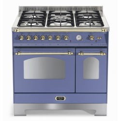 Aragaz Lofra Dolcevita RLVD96MFTE/CI, 90x60cm, gaz, 5 arzatoare, grill, rotisor, timer, cuptor dublu, albastru