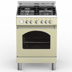 Aragaz Bompani Belle Epoque BO644JF/N, 60x60 cm, plita gaz, 4 arzatoare, aprindere electronica, grill, rotisor, crem