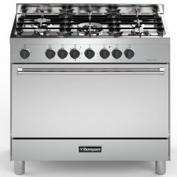 Aragaz Bompani Tech BO683DC/N, 90x60 cm, gaz, 5 arzatoare, aprindere electronica, grill, rotisor, inox