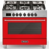 Aragaz Bompani Tech BBO689DA/N, 90x60 cm, gaz, 5 arzatoare, aprindere electronica, grill, rotisor, rosu