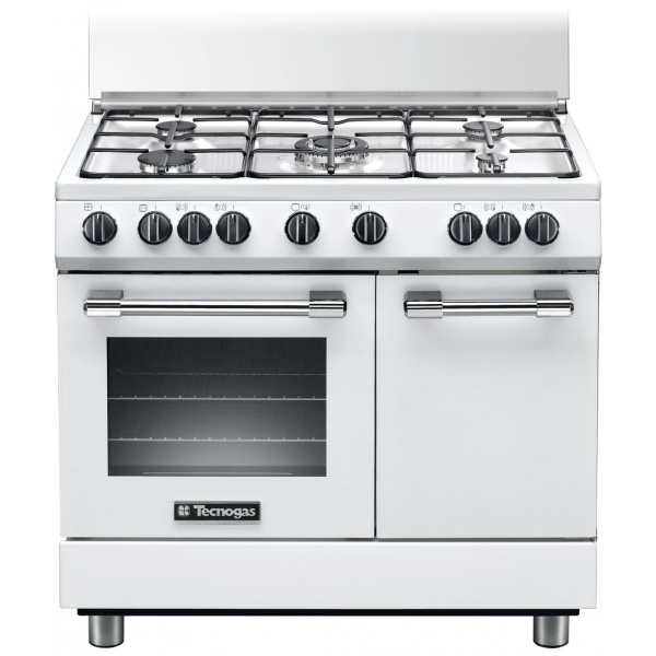 Aragaz Tecnogas PRO PB965MW, 90x60 cm, gaz, 5 arzatoare, aprindere electronica, grill, alb