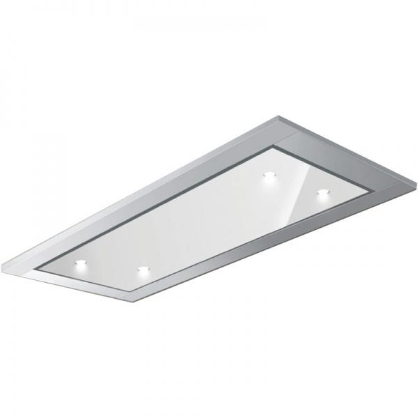 Hota de tavan incorporabila Baraldi Gea Glass, 90 cm, motor Kube 900 m3/h, sticla alba/inox