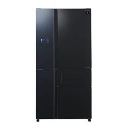 Side by side SHARP SJSX830FBK, 660l, Clasa A++, Plasmacluster,Hybrid Coolinng System, J-tech Inverter, sticla neagra