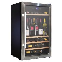 Vitrina de vinuri Vinum Design Clasic VD60SCSW, 60 sticle, 1 zona temperatura, Negru / inox