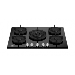 Plita incorporabila Bertazzoni La Germania, 75 cm, 5 arzatoare, aprindere electrica, siguranta gaz, WOK, sticla neagra