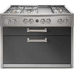 Plita profesionala cu spatii depozitare Steel Genesi G12C 120x65 cm, 6 arzatoare, 2 sertare, aprindere electronica, mov