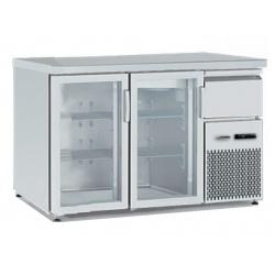 Vitrina frigorifica orizontală Tecfrigo BBX 2V TOP Glass, cu blat de lucru, capacitate 340 l, temperatura +4/+8, argintiu