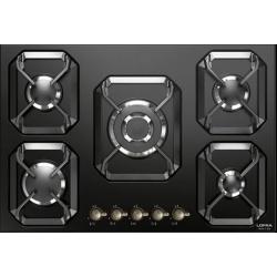 Plita incorporabila Lofra Dolcevita HRNM7A0/GA, 75 cm, plita gaz, 5 arzatoare,sistem siguranta Stop-Gaz,butoane bronz, negru mat
